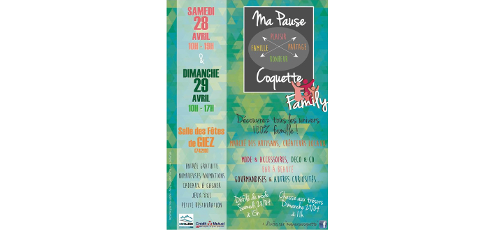 Ma Pause Coquette Family – 28 & 29 AVRIL 2018 – GIEZ