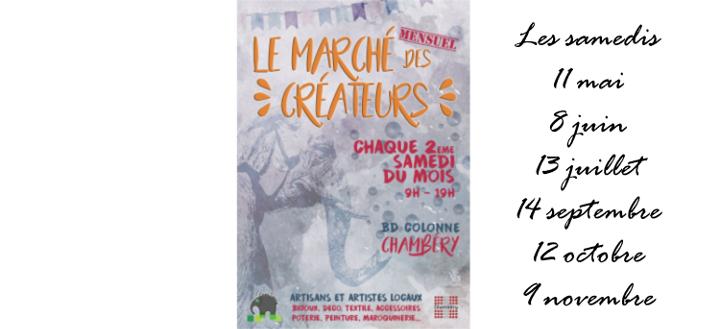 Marché Créateurs – mai à novembre 2019 – CHAMBERY